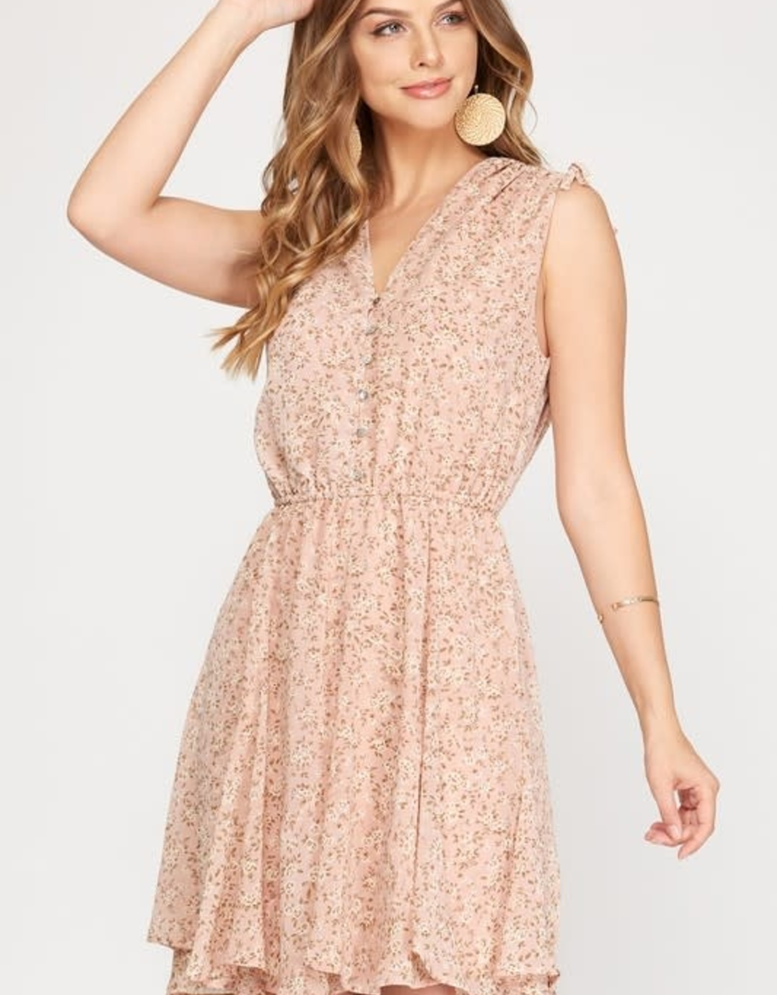 Miss Bliss Slvls Drawstring Printed Dress- Rose