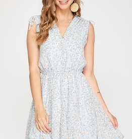 Miss Bliss Slvls Drawstring Printed Dress- Light Blue