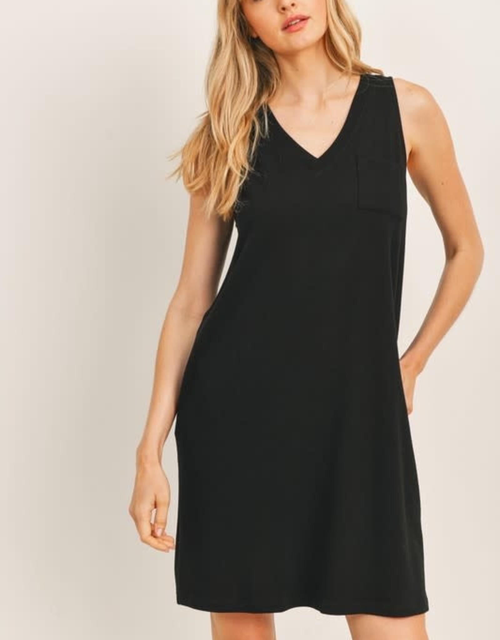 Miss Bliss V Neck French Terry Knit Dress- Black