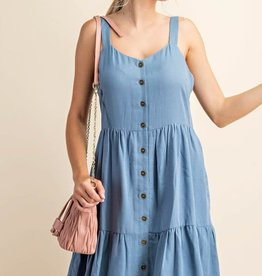 Miss Bliss Slvls Button Up Dress- Denim Blue