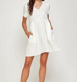 Miss Bliss Cotton Button Detail SS Dress- Off White