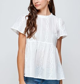 Miss Bliss Ruffle Neck SS Eyelet Top- White