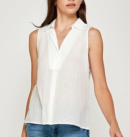 Miss Bliss Cotton Front Pleated Slvls Top- White