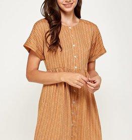 Miss Bliss Double Stripe Button Detail SS Dress- Camel