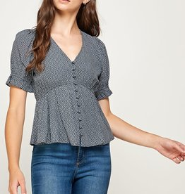 Miss Bliss Printed Button Detail SS Top- Grey