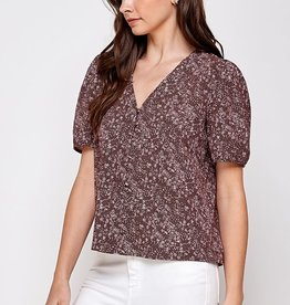Miss Bliss Printed SS V Neck Button Down Blouse- Wine