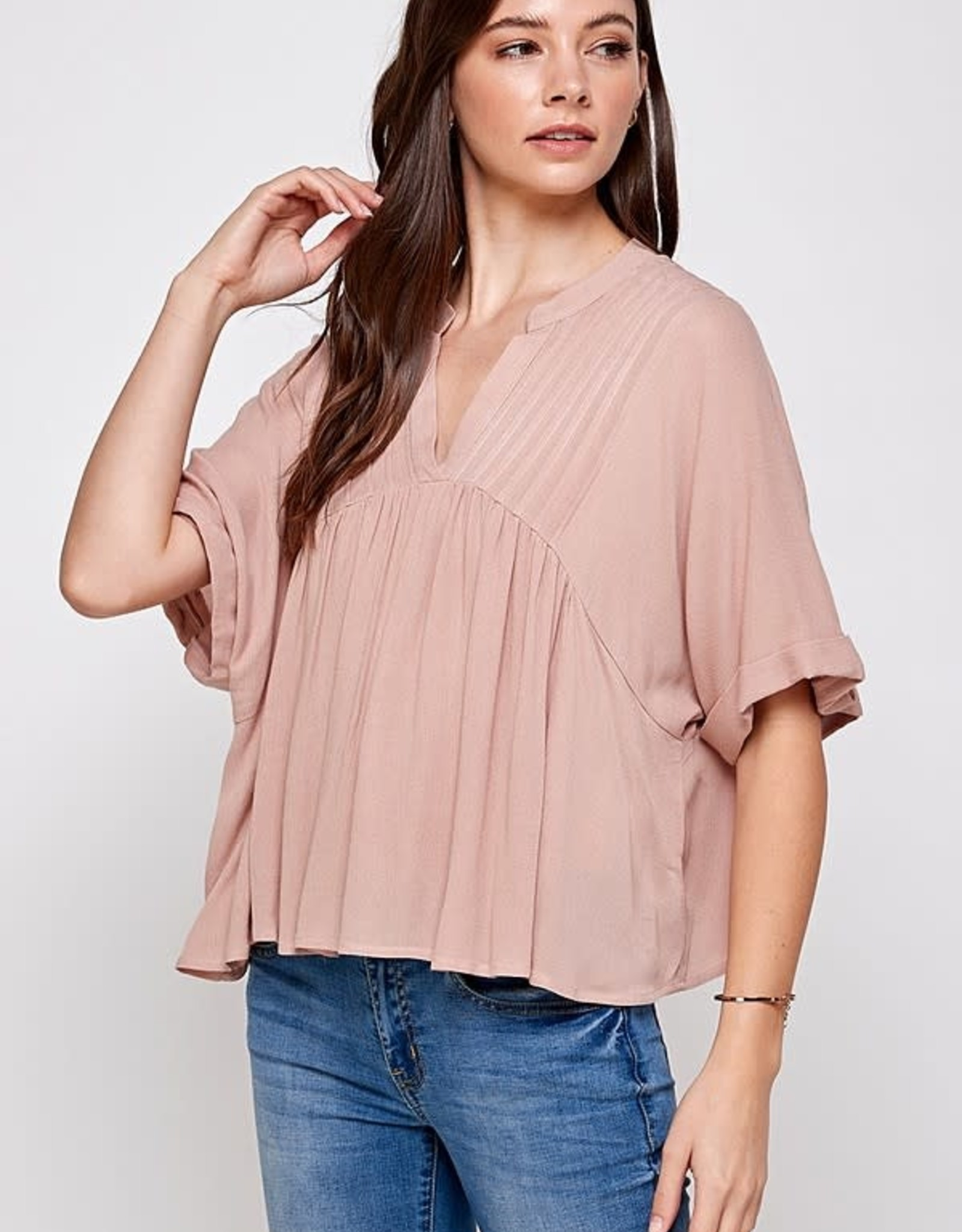 Miss Bliss Solid Pin Tuck Folded Cuff Top- Taupe