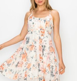 Miss Bliss Tiered Flounce Baby Doll Dress- Blush