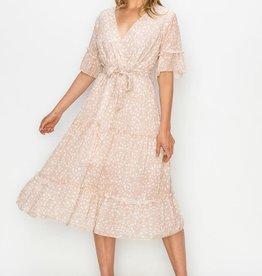 Miss Bliss Ruffled Sleeve Tiered Midi Dress- Apricot