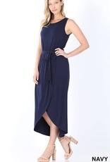 Miss Bliss Belted Slvls Tulip Dress- Navy