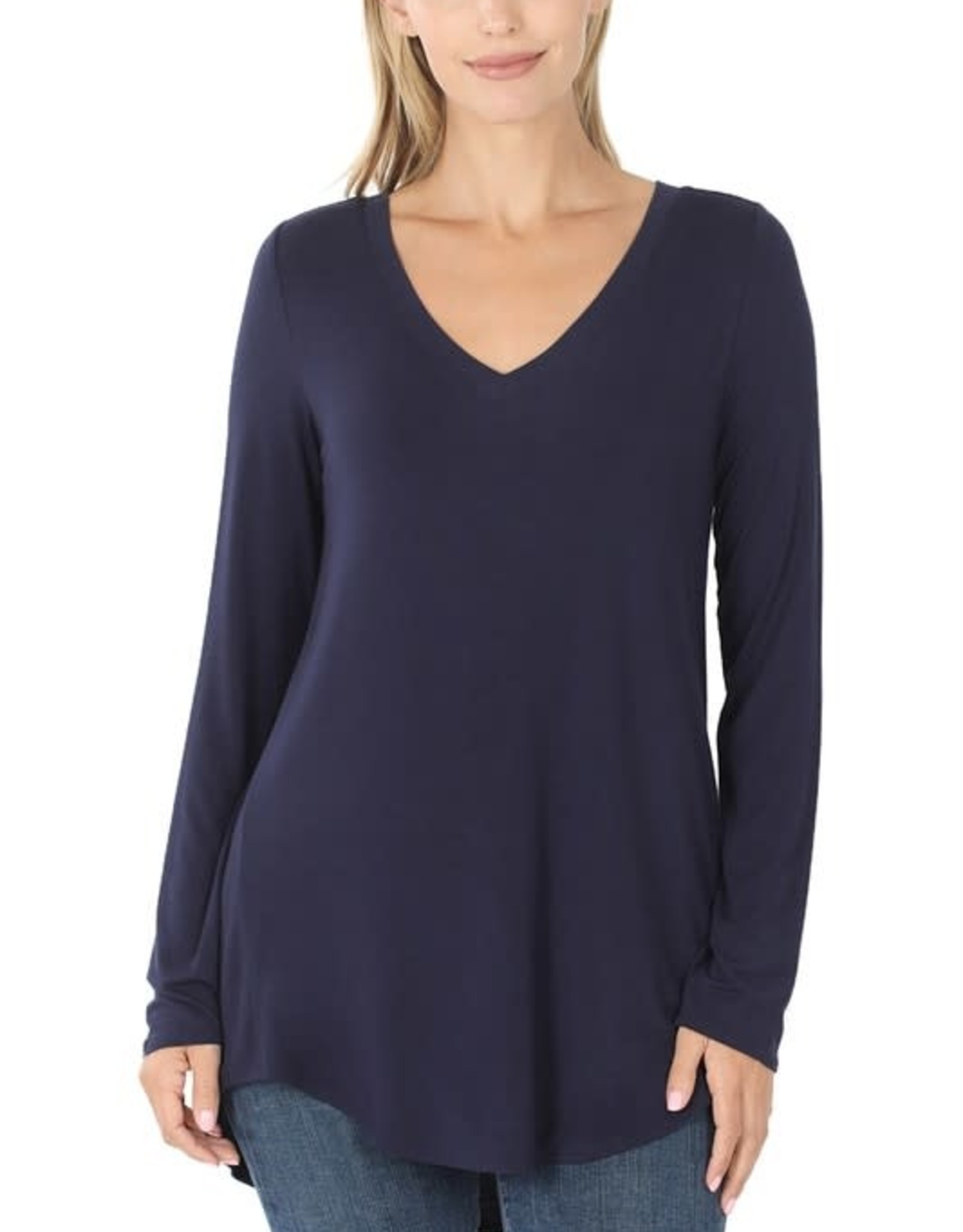 Miss Bliss Luxe Rayon LS V Neck Top-
