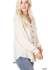 Miss Bliss Woven Puff Sleeve Button Up Shirt- Taupe