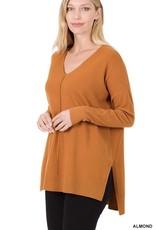 Miss Bliss Hi-Low Hem V Neck Center Seam Sweater-