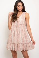 Miss Bliss Python Print Tiered Dress- Dusty Pink