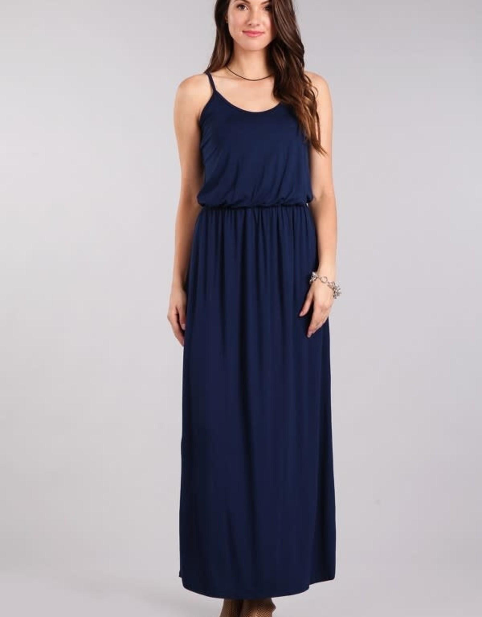 Miss Bliss Solid Knit Svls Maxi Dress- Navy