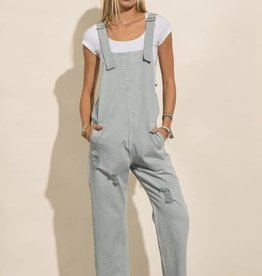 Miss Bliss Ripped Denim Wash Overall- Powder Blue
