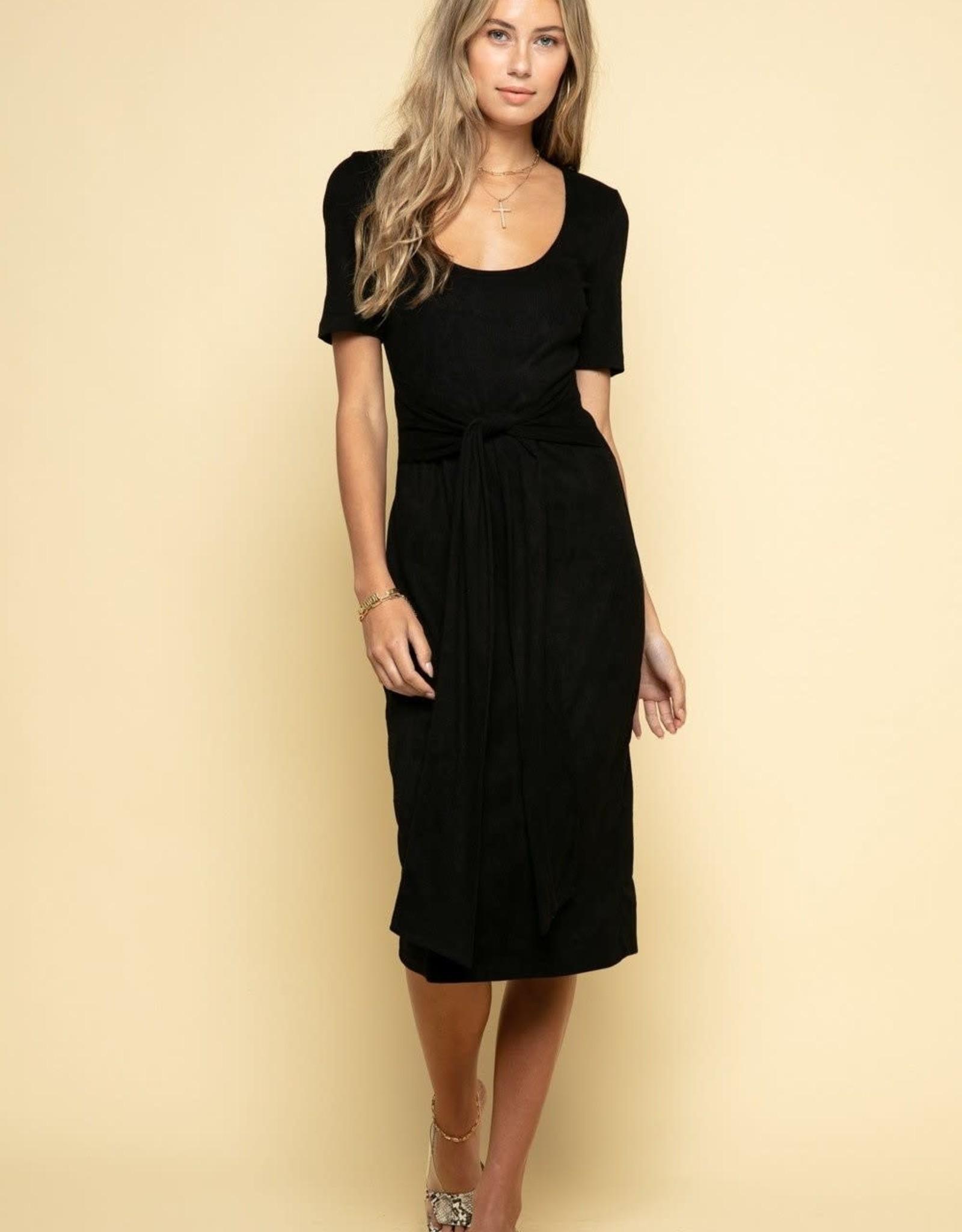 Miss Bliss Deep U-Neck Front Tie Midi Dress- Black