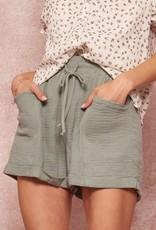 Miss Bliss Crinkle Cotton Woven Shorts- Pistachio