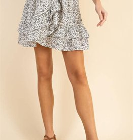 Miss Bliss Floral Print Surplice Skirt- Off White