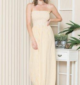 Miss Bliss Slvls Stripped Printed Maxi Dress- Lemon