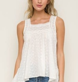 Miss Bliss Slvls Cotton Lace Detail Eyelet Top- Off White