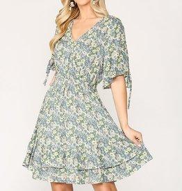 Miss Bliss Floral Print Ruffle Waist Smocked Dress- Peri Blue