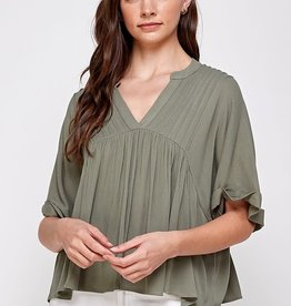 Miss Bliss Solid Pin Tuck Folded Cuff Top- Olive