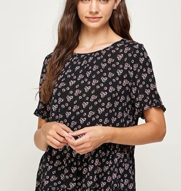 Miss Bliss Floral Print Ruffle Dolman Sleeve Top- Black