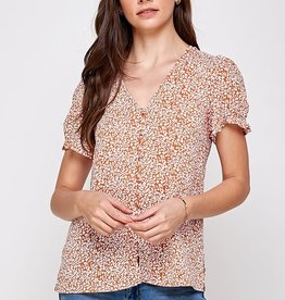 Miss Bliss SS Printed Button Detail Top- Rust