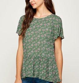 Miss Bliss Floral Print Ruffle Dolman Sleeve Top- Green