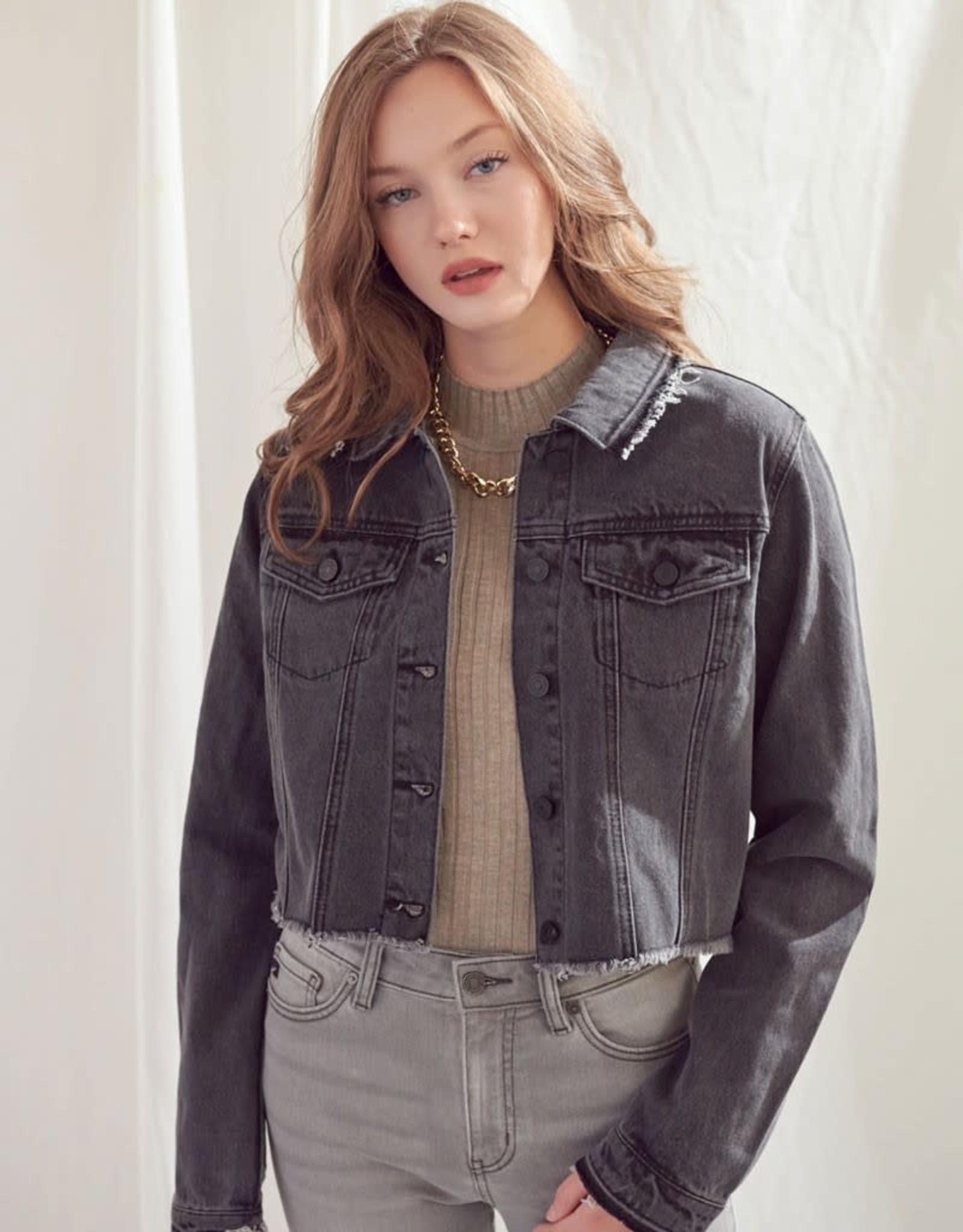 Miss Bliss Cropped Jean Jacket- Grey