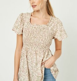 Miss Bliss Ditsy Floral Smocked Peplum Top- Cream