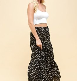 Miss Bliss Three Layered Floral Print Skirt-Black