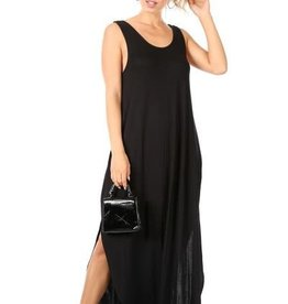 Miss Bliss Solid Slvls Scoop Neck Maxi Dress- Black