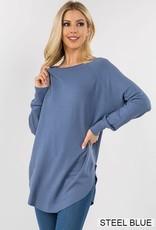 Miss Bliss Boat Neck Sweater w/ Scoop Hem- Steel Blue