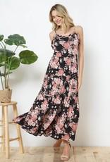 Miss Bliss Slvls Floral Print Maxi Dress- Black