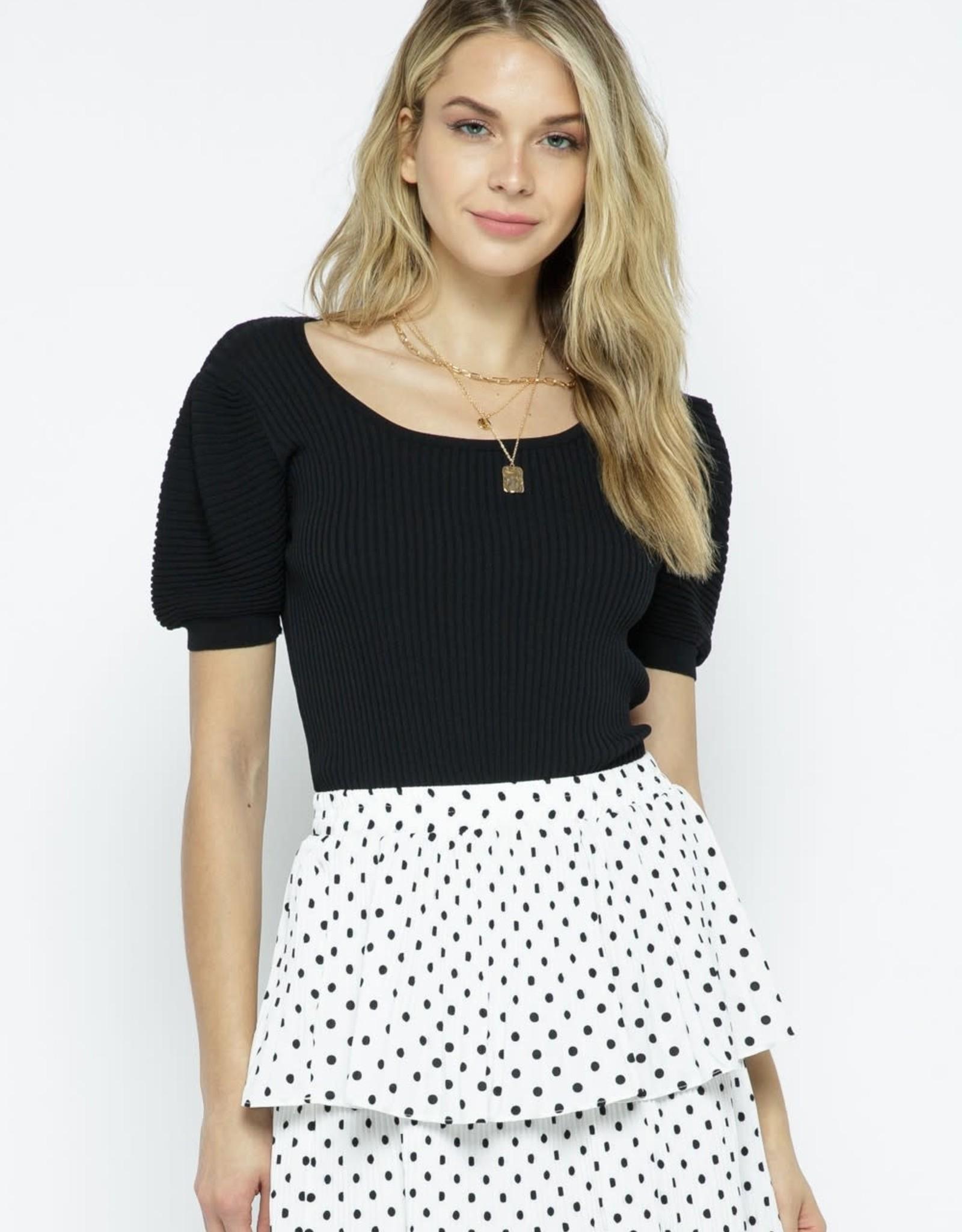 Miss Bliss Knit Bubble Sleeve Top- Black
