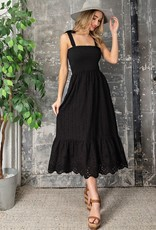 Miss Bliss Slvls Eyelet Smocked Midi Dress- Black
