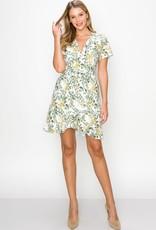 Miss Bliss Tropical Print Ruffle Wrap Mini Dress- White