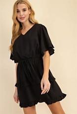 Miss Bliss V Neck Ruffled SS Tiered Dress- Black