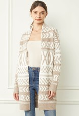 Miss Bliss Printed Open Front Cardigan- Tan