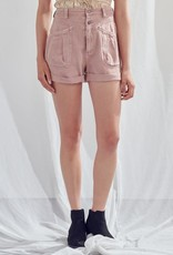 Miss Bliss Double Button Denim Shorts- Clay