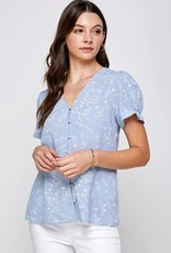 Miss Bliss Floral Button Detail SS V Neck Top- Blue