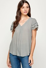 Miss Bliss Layered SS Casual Top- Olive