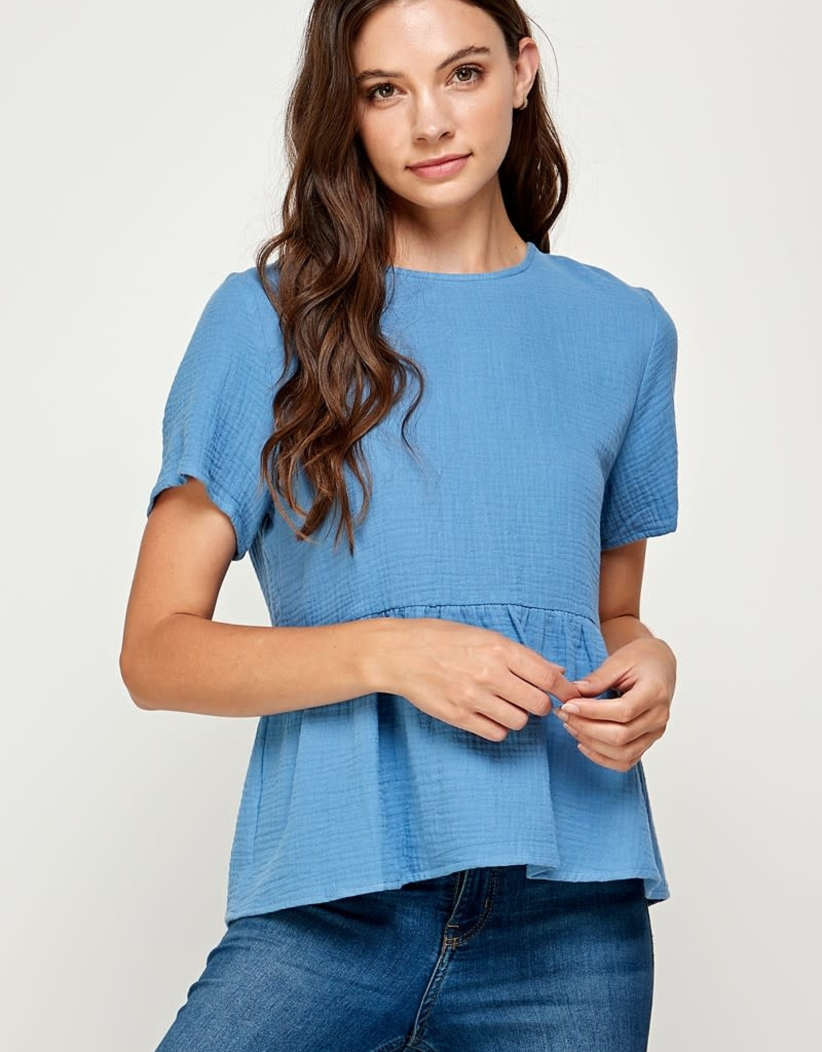 Miss Bliss Cotton Gauze Ruffle Top With Button Back- Denim Blue