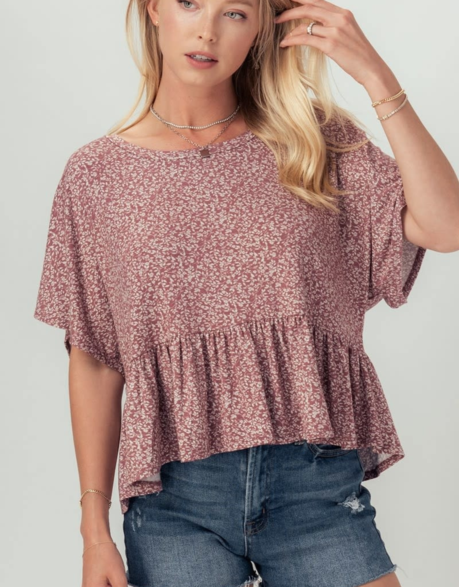 Miss Bliss Ditsy Floral SS Babydoll Top- Rosewood