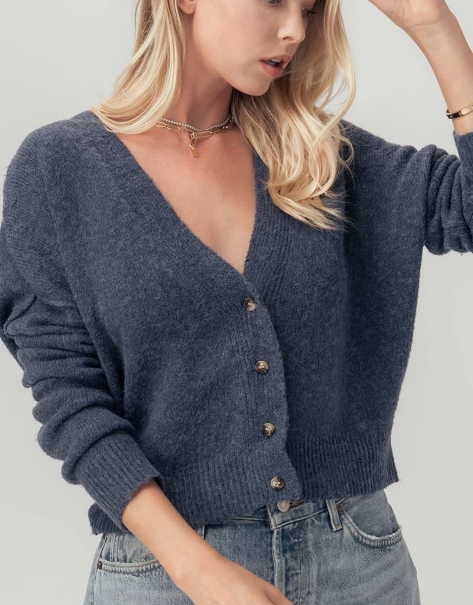 Miss Bliss Button Down Cropped Cardigan- Blue Stone