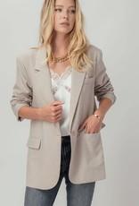 Miss Bliss Textured Single Button Blazer- Light Beige