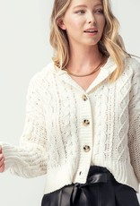 Miss Bliss Chunky Cable Knit Hooded Cardigan- Butter