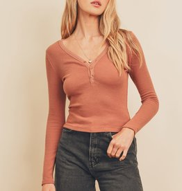 Miss Bliss Button Placket LS Top- Dried Rose